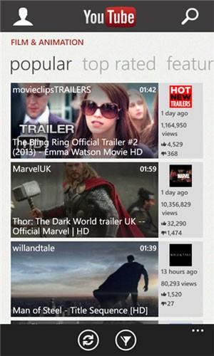 Aplicativo do YouTube para Windows Phone, desenvolvido pela Microsoft. (Foto: Divulgação)