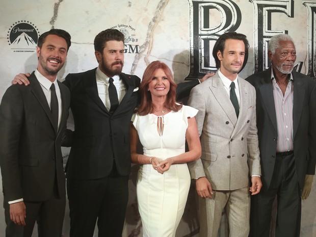 Jack Huston, Toby Kebbell, Roma Downey, Rodrigo Santoro e Morgan Freeman em première de filme na Cidade do México, no México (Foto: Hector Vivas/ Getty Images)