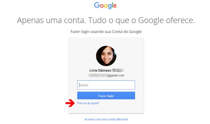 Página de login do Google (Foto: Reprodução/Lívia Dâmaso)