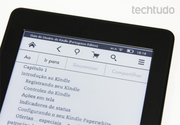 Menu superior do Kindle Paperwhite (Foto: Isadora Díaz/TechTudo)