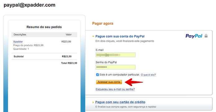Acesse a sua conta no PayPal (Foto: Reprodução/Helito Bijora)