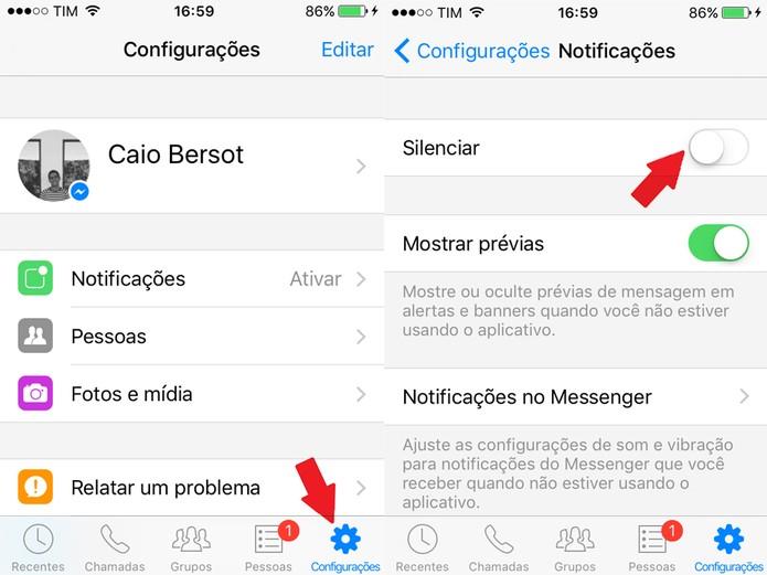 """No menu de configurações, clique em """"Notificações"""" (Foto: Reprodução/Caio Bersot)"""