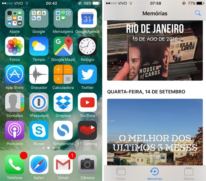 O Memórias é uma novidade no iOS 10 (Foto: Reprodução)