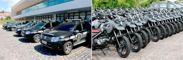 Carros e motocicletas foram entregues à Secretaria de Segurança na manhã desta quinta-feira (3)  (Foto: Demis Roussos/Governo do RN)