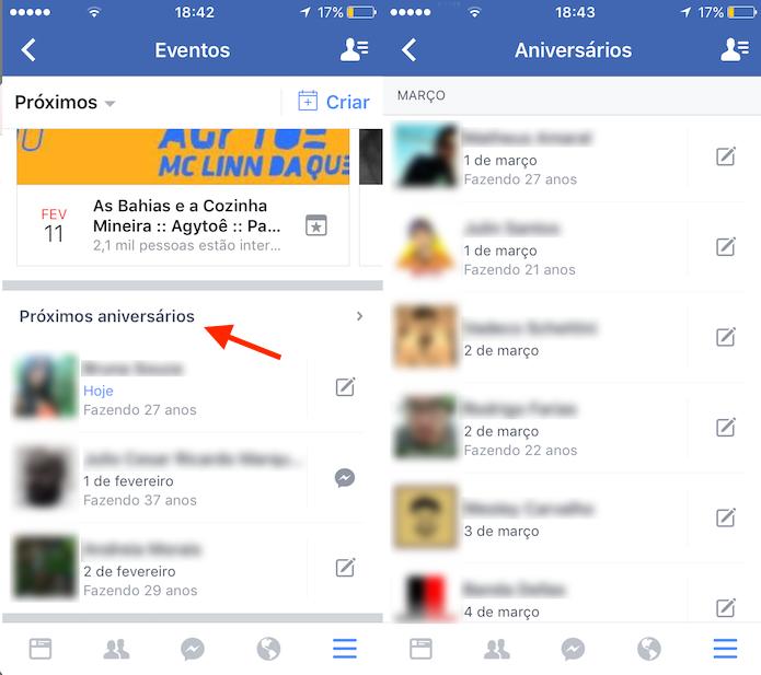 Caminho para visualizar todos os próximos aniversários de amigos no Facebook (Foto: Reprodução/Marvin Costa)