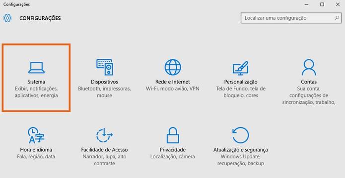 Selecione  item de Sistema nas configurações do Windows 10 (Foto: Reprodução/Barbara Mannara)