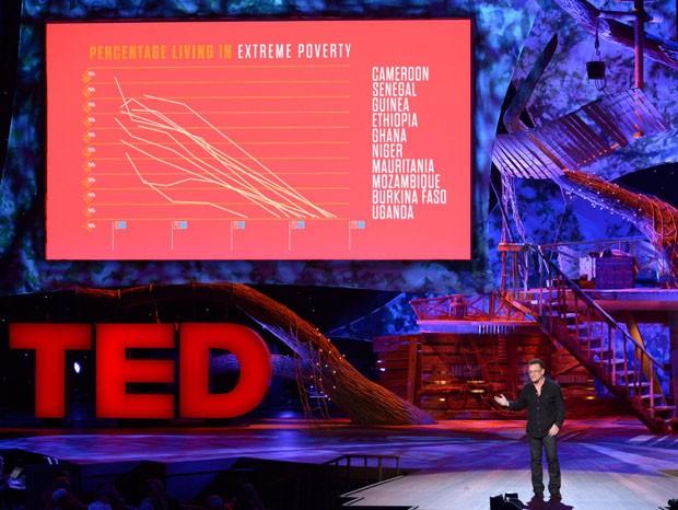 Bono Vox, do U2, usou o Prezi para fazer sua apresentação no circuito global de conferências TED, em fevereiro de 2013. (Foto: Reprodução/TED)