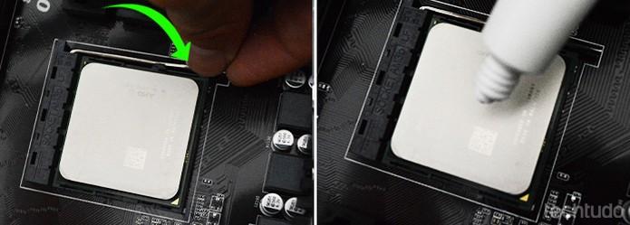 A pasta térmica deve ser aplicada e espalhada sobre o processador (Foto: Adriano Hamaguchi/TechTudo)