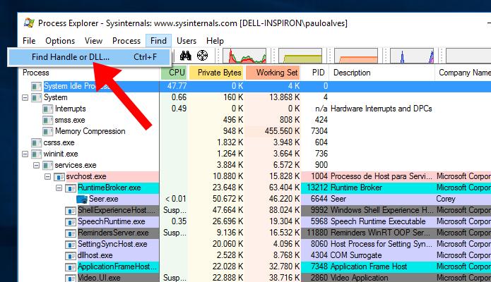 Acesse o menu Find da ferramenta do Windows (Foto: Reprodução/Paulo Alves)