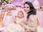 Bella Falconi mostra vídeo da festa de 1 ano da filha, Victoria