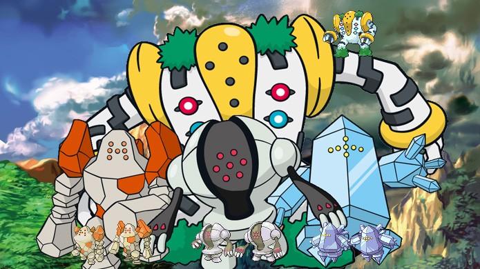 Da esquerda para a direita, Regirock, Registeel e Regice, com Regigigas no topo, compõem os titãs lendários de Pokémon Ruby & Sapphire (Foto: Reprodução/Rafael Monteiro)
