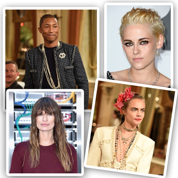 Pharrell, Kristen Stewart, Caroline De Maigret e Cara Delevingne (Foto: Getty Images)