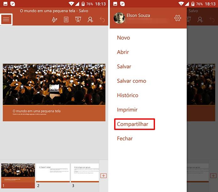 PowerPoint pode converter apresentações para PDF no Android (Foto: Reprodução/Elson de Souza)