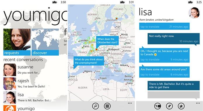 Youmigo é um aplicativo que permite conversas com usuários de outros países gratuitamente (Foto: Divulgação/Windows Phone Store)