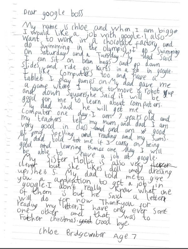 A carta de Chloe Bridgewater para o Google (Foto: Reprodução)