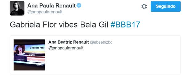 Ana Paula Renault comenta a lista do BBB 17 (Foto: Reprodução/Twitter)