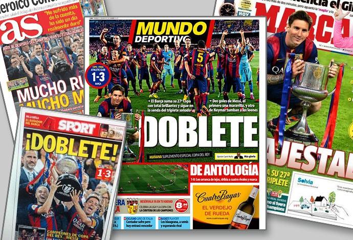 MONTAGEM - Jornais espanha barcelona campeão copa do rei