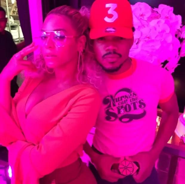 Beyonc e Chance The Rapper na festa de aniversrio da cantora (Foto: Reproduo/Instagram)