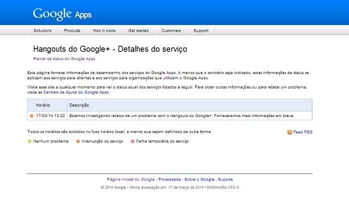 Status do Google para o Hangouts (Reprodução/Taysa Coelho)