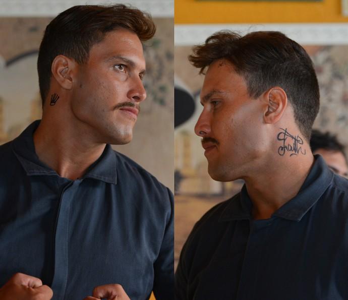Dublê mostra as tatuagens do pescoço (Foto: Pedro Carrilho/Gshow)