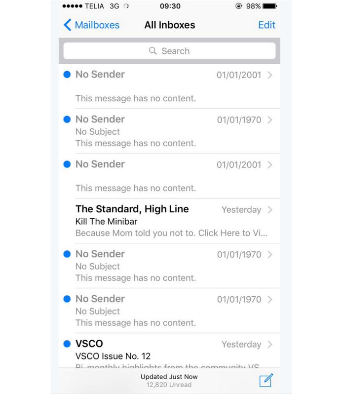 E-mail com data de 1970 está chegando a usuários do iOS (Foto: Reprodução/Twitter)