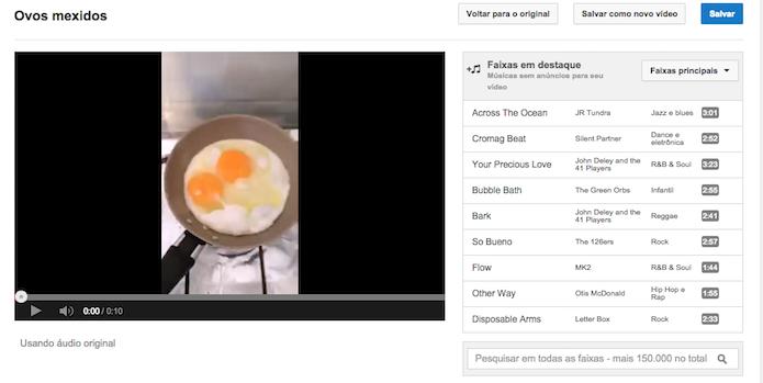 Testando as trilhas disponibilizadas pelo YouTube em um vídeo sem áudio (Foto: Reprodução/Marvin Costa)