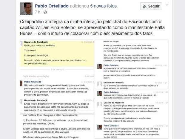 Professor da USP divulgou nesta terça a troca de mensagens que teve com o capitão do Exército, que se apresentava com Balta Nunes (Foto: Reprodução/Facebook)