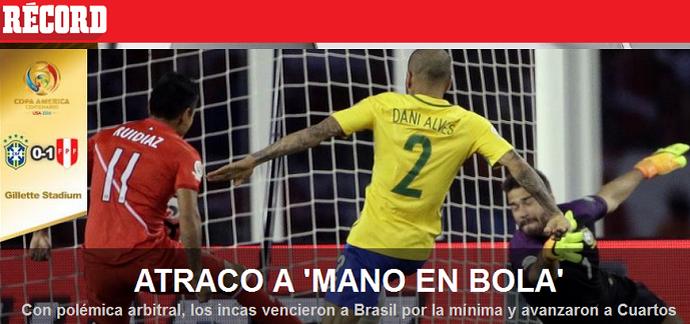 Jornal Brasil x Peru (Foto: Reprodução)