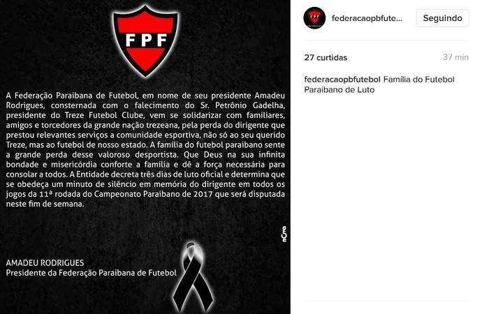 FPF decreta luto oficial pela morte de Petrônio Gadelha (Foto: Divulgação/FPF)