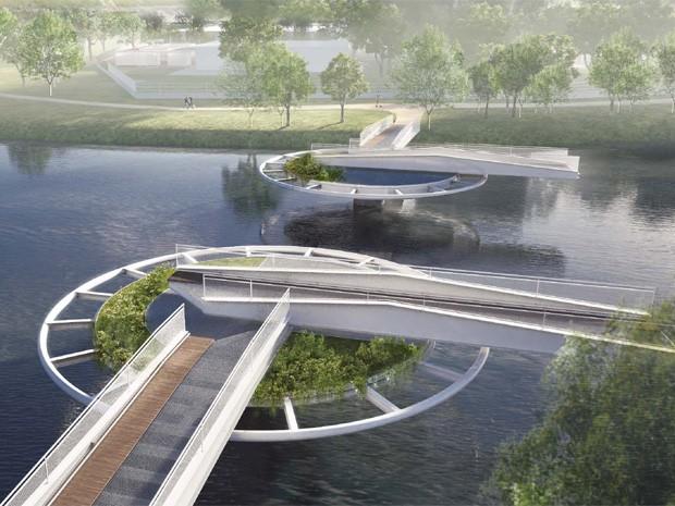 Detalhe de como a ponte vai se movimentar (Foto: Divulgação/Bayer)
