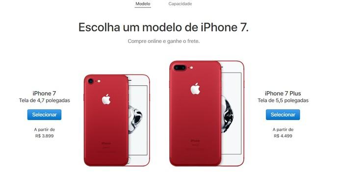 Iphone 7 e iPhone 7 Plus ganham cor vermelha e começam a ser vendidos no Brasil (Foto: Divulgação/Apple)