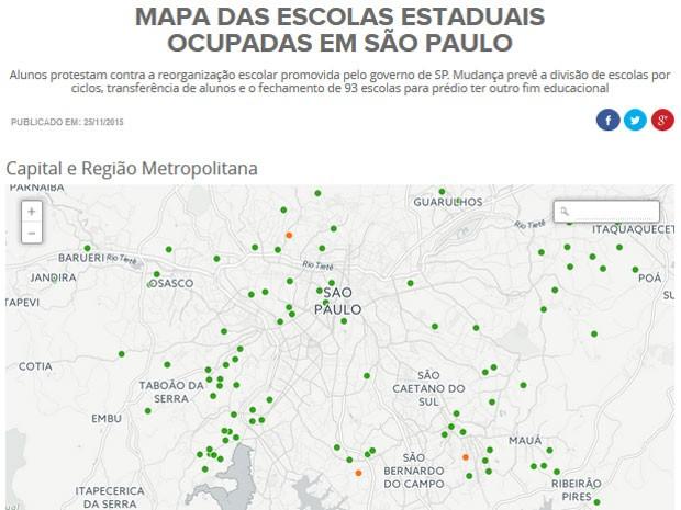 Mapa mostra onde ficam as escolas da capital que serão fechadas na reorganização do ensino estadual (Foto: Editoria de Arte/G1)