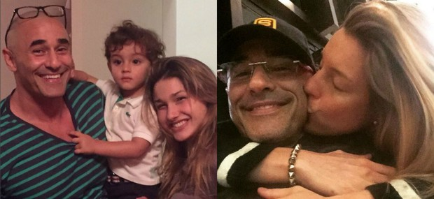 Luciano Szafir com a filha Sasha Meneghel, de 17 anos, e o pequeno David, de dois anos. Na outra foto, ator aparece com a mulher, Luhanna Melloni (Foto: Reprodução do Instagram)