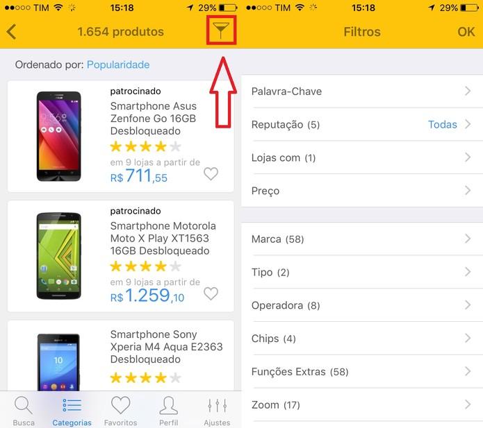 Crie filtros para melhorar o resultado de suas buscas no Buscapé (Foto: Reprodução/Juliana Pixinine)