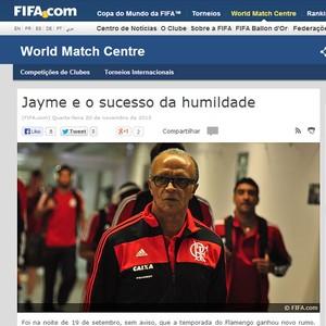 Print do site da Fifa - Jayme flamengo (Foto: Reprodução / Site fifa)