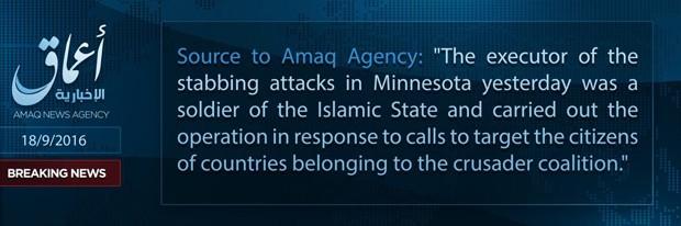 Comunicado do EI publicado pela Amaq News, no Twitter. (Foto: Reprodução/Twitter)