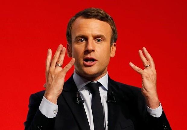 Candidato à Presidência da França Emmanuel Macron durante evento de campanha em Chatellerault, na França (Foto: Regis Duvignau/Reuters)