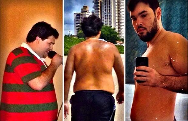Na foto à esquerda, Thiago na fase em que estava gordo. Na imagem à direita, ele em sua forma atual (Foto: Arquivo pessoal)