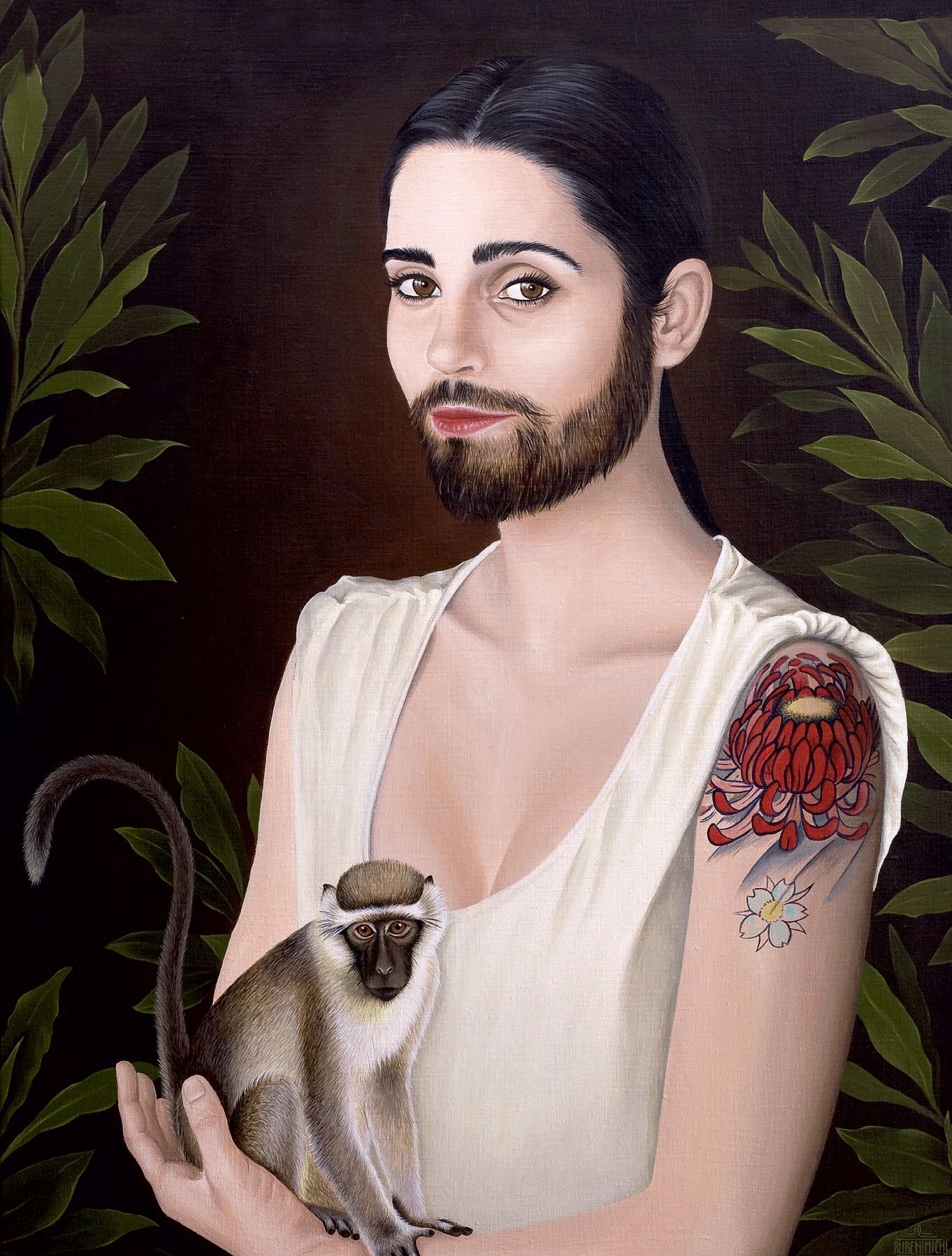 Aqui, a obra Mujer Barbuda (2011), do coletivo espanhol Rubenimichi. O trio de pintores cria personagens que misturam figuras humanas, animais e o universo fantástico (Foto: Reprodução e Divulgação)