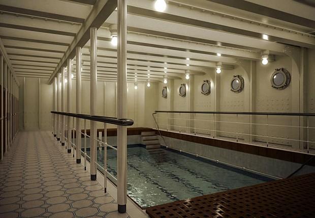A piscina do Titanic II também é uma réplica da original desenhada para a embarcação, considerada então a maior e mais luxuosa de seu tempo (Foto: Divulgação/Blue Line)