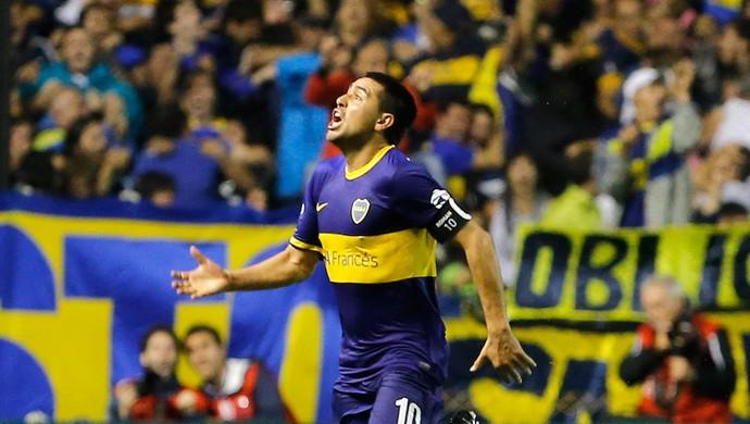 Riquelme gol, Boca Juniors x River Plate (Foto: AP)