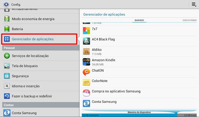 """Acesse o """"Gerenciador de aplicações"""" no menu de configurações de seu Android (Foto: Reprodução/Daniel Ribeiro)"""