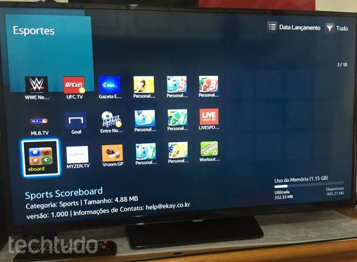 Escolha o app que você pretende baixar na sua Smart TV da Samsung (Foto: Lucas Mendes/TechTudo)