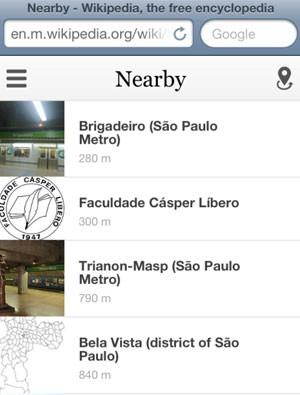 Nova função do Wikipedia para celular mostra artigos com base na localização do usuário (Foto: Reprodução)
