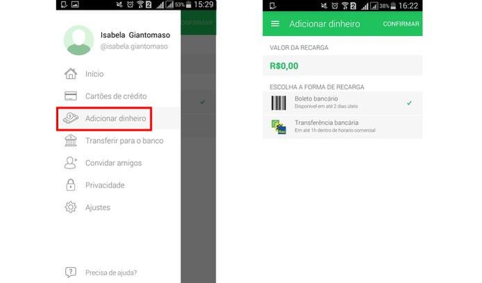 PicPay permite adicionar dinheiro na carteira digital (Foto: Reprodução/Isabela Giantomaso)