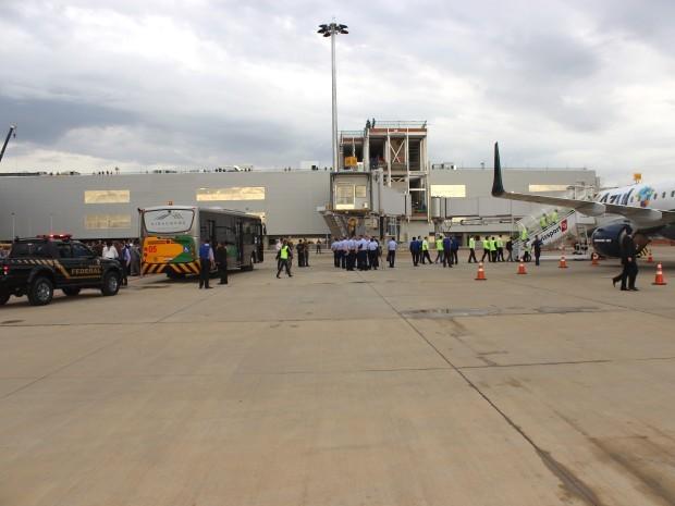 Simulado em novo terminal do Aeroporto Internacional de Viracopos, em Campinas (Foto: Frederico Andrade / Aeroportos Brasil Viracopos)