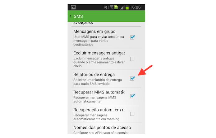 Ativando o relatório de entregas de SMS do Hangout no Android (Foto: Reprodução/Marvin Costa)