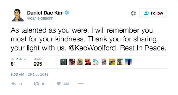 A homenagem do ator Daniel Dae Kim a Keo Woolford (Foto: Twitter)