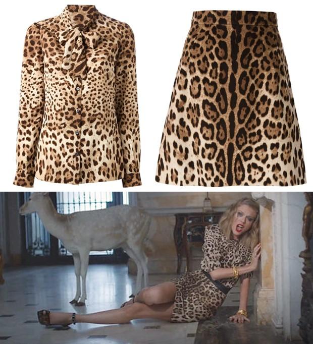 De animal print da cabea aos ps nesta cena, Taylor adota um conjunto Dolce & Gabbana poderoso. Ui! (Foto: Reproduo / Getty Images)