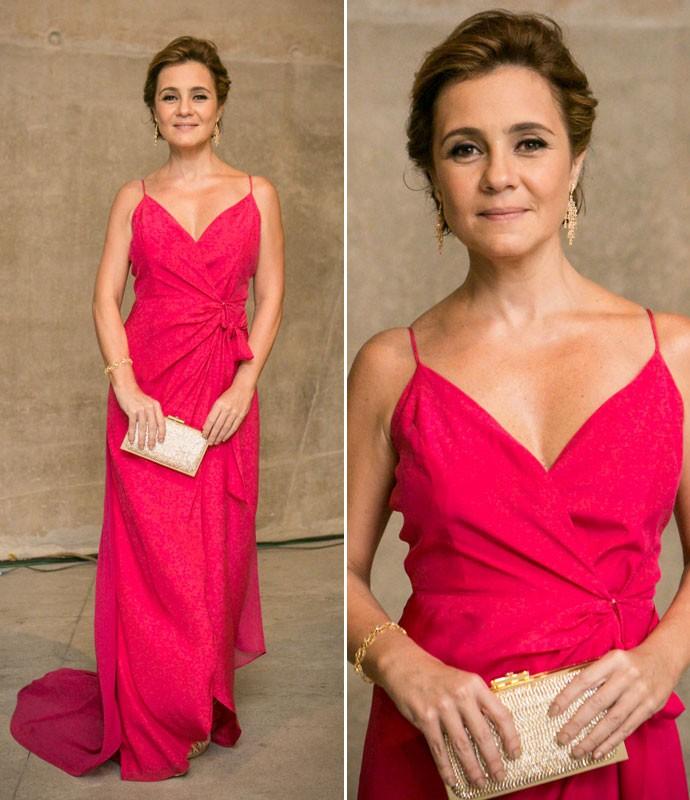 Inês faz bonito e surge com um longo pink  (Foto: Isabella Pinheiro/Gshow)